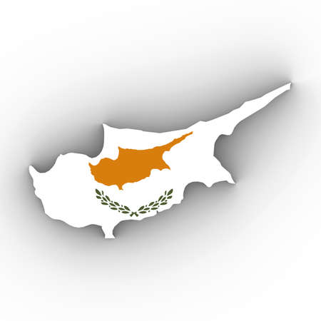 Cyprus Map Outline with Cypriot Flag on White with Shadows 3D Illustration