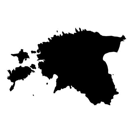 Estonia Black Silhouette Map Outline Isolated on White 3D Illustration