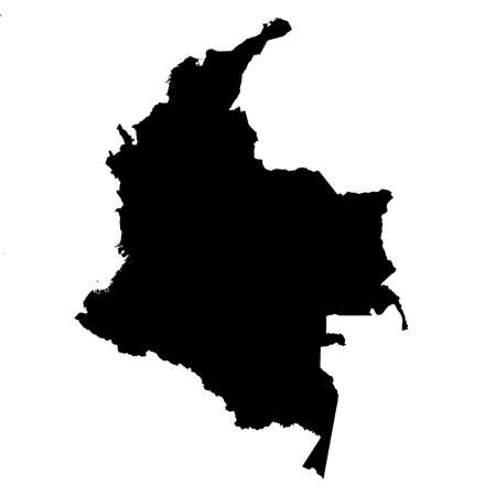 Colombia Black Silhouette Map Outline Isolated on White 3D Illustration