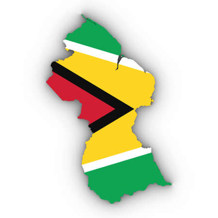 Guyana Map Outline with Guyanese Flag on White with Shadows 3D Illustration Imagens - 81368366
