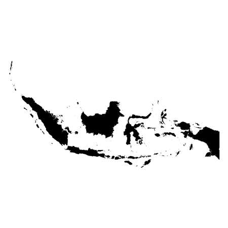 Indonesia Black Silhouette Map Outline Isolated on White 3D Illustration