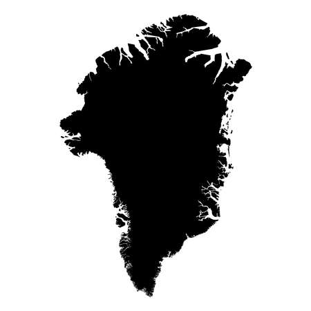 Greenland Black Silhouette Map Outline Isolated on White 3D Illustration Stock Photo