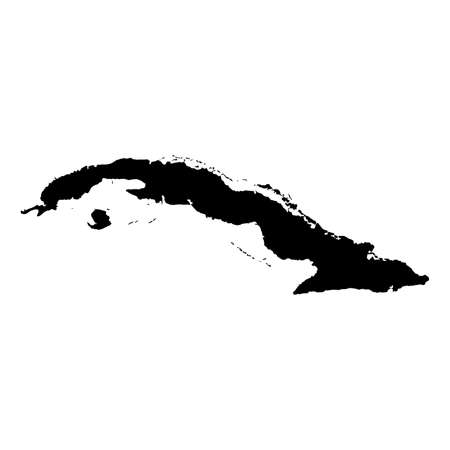 Cuba Black Silhouette Map Outline Isolated on White 3D Illustration Stok Fotoğraf