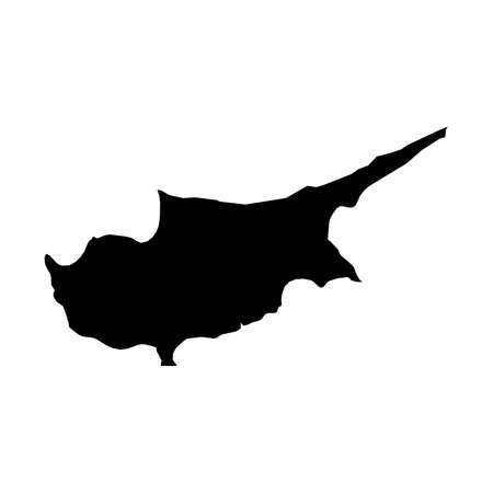 Cyprus Black Silhouette Map Outline Isolated on White 3D Illustration