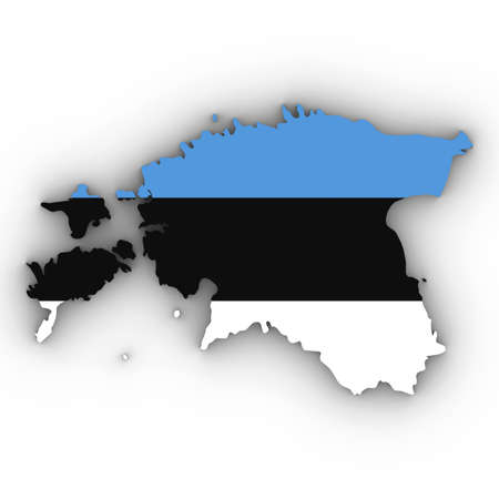 Estonia Map Outline with Estonian Flag on White with Shadows 3D Illustration