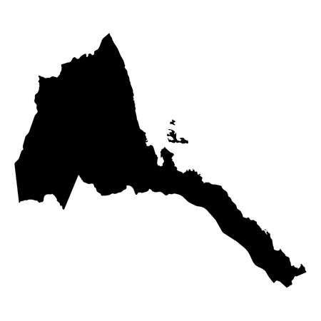 Eritrea Black Silhouette Map Outline Isolated on White 3D Illustration
