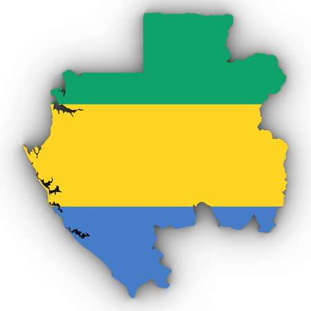 Gabon Map Outline with Gabonese Flag on White with Shadows 3D Illustration