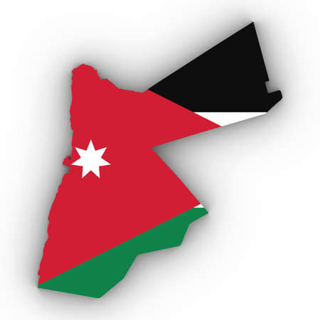 Jordan Map Outline with Jordanian Flag on White with Shadows 3D Illustration Imagens