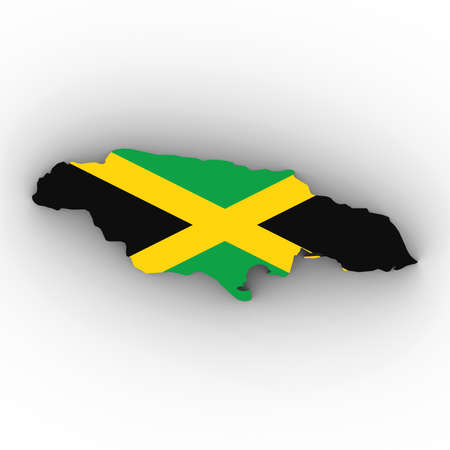 Jamaica Map Outline with Jamaican Flag on White with Shadows 3D Illustration