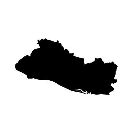 El Salvador Black Silhouette Map Outline Isolated on White 3D Illustration