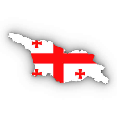 Georgia Map Outline with Georgian Flag on White with Shadows 3D Illustration Imagens
