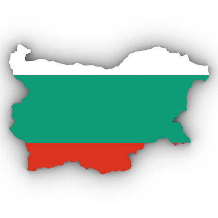 Bulgaria Map Outline with Bulgarian Flag on White with Shadows 3D Illustration Imagens