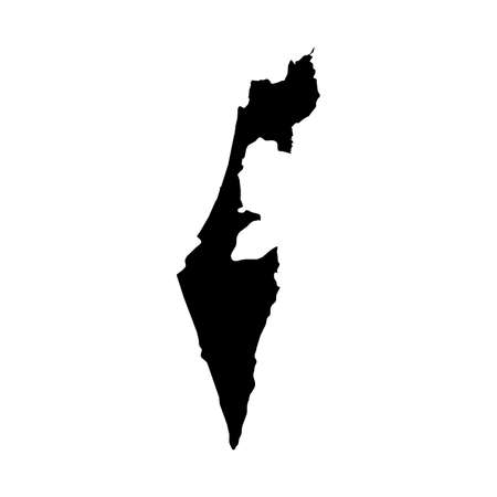 Israel Black Silhouette Map Outline Isolated on White 3D Illustration Stock Photo
