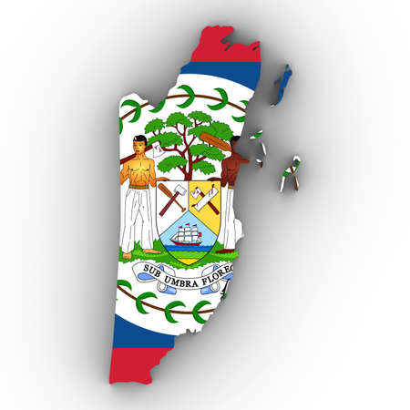 Belize Map Outline with Belizean Flag on White with Shadows 3D Illustration