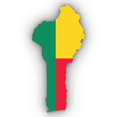 Benin Map Outline with Beninese Flag on White with Shadows 3D Illustration Stock Photo