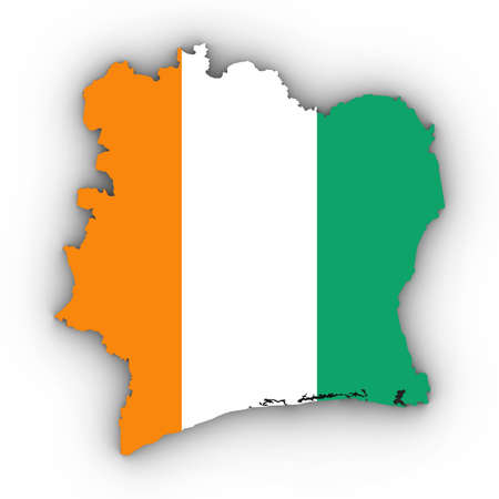 Cote dIvoire Map Outline with Ivorian Flag on White with Shadows 3D Illustration Imagens