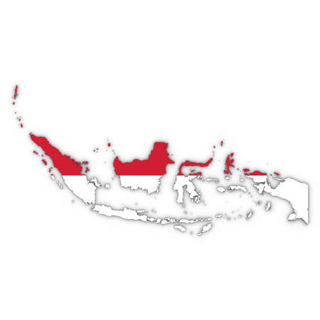Indonesia Map Outline with Indonesian Flag on White with Shadows 3D Illustration Stock Photo