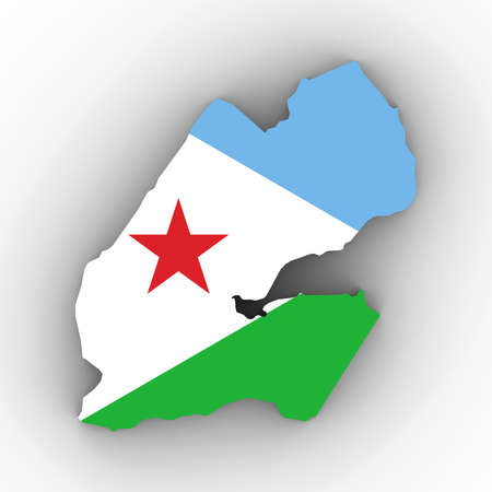 Djibouti Map Outline with Djiboutian Flag on White with Shadows 3D Illustration