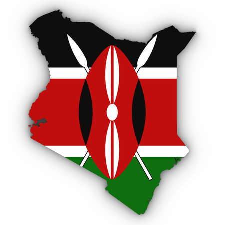 Kenya Map Outline with Kenyan Flag on White with Shadows 3D Illustration