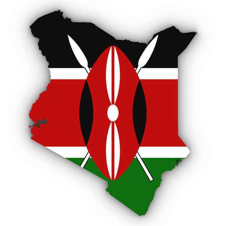 Kenia Kaartoverzicht met Keniaanse Vlag op Wit met 3D Illustratie Schaduwen