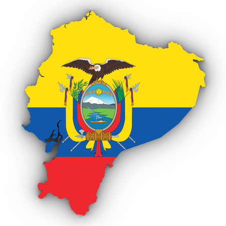 Ecuador Map Outline with Ecuadorian Flag on White with Shadows 3D Illustration Imagens