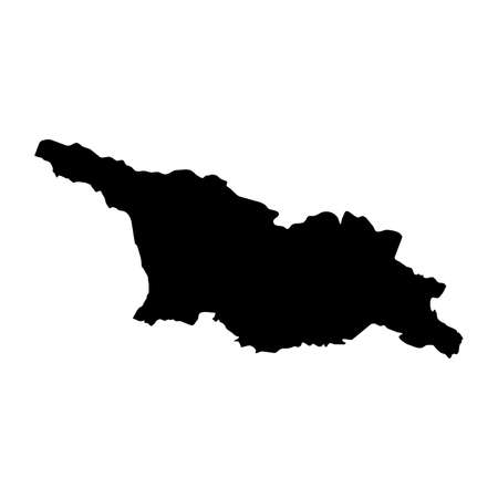 Georgia Black Silhouette Map Outline Isolated on White 3D Illustration