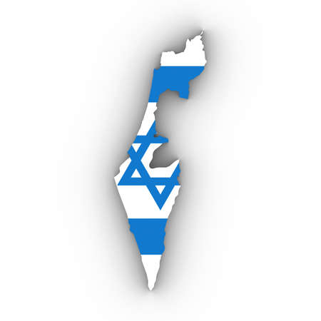 Israel Map Outline with Israeli Flag on White with Shadows 3D Illustration Imagens - 81368385