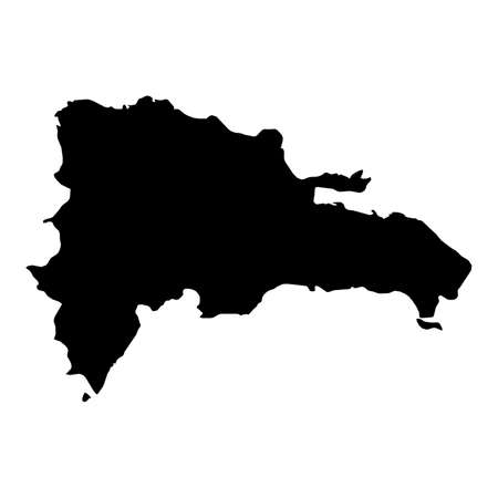 Dominican Republic Black Silhouette Map Outline Isolated on White 3D Illustration Imagens - 81368383