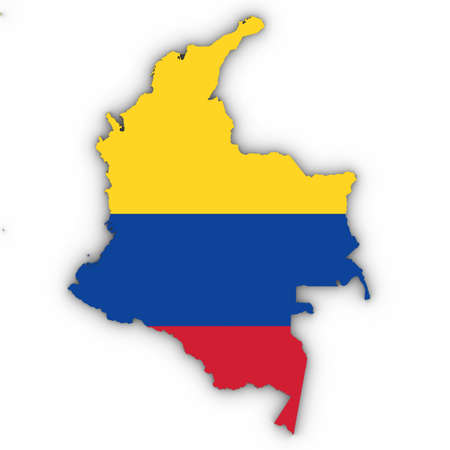 Colombia Map Outline with Colombian Flag on White with Shadows 3D Illustration