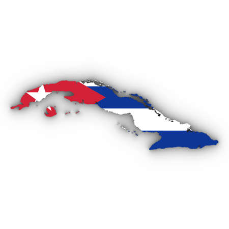 Cuba Map Outline with Cuban Flag on White with Shadows 3D Illustration