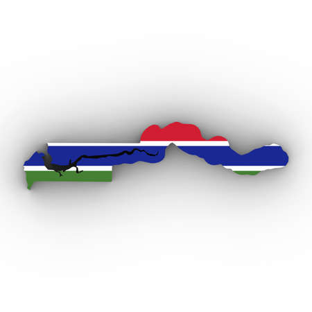 Gambia Map Outline with Gambian Flag on White with Shadows 3D Illustration