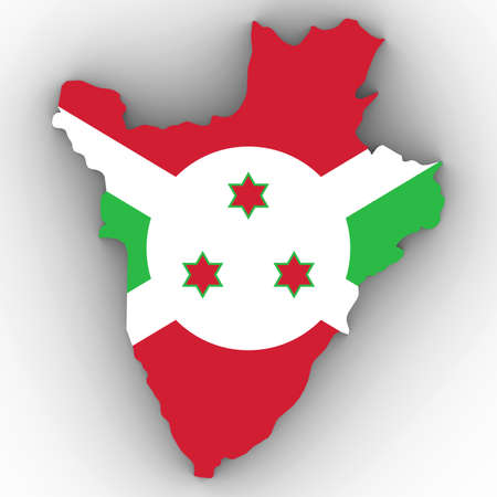 Burundi Map Outline with Burundian Flag on White with Shadows 3D Illustration