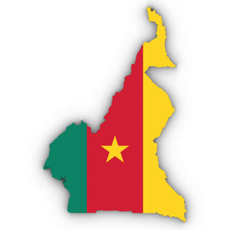 Cameroon Map Outline with Cameroonian Flag on White with Shadows 3D Illustration Imagens