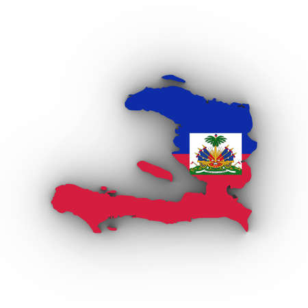 Haiti Map Outline with Haitian Flag on White with Shadows 3D Illustration Imagens