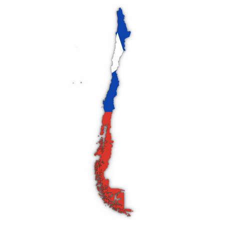 Chile Map Outline with Chilean Flag on White with Shadows 3D Illustration Imagens
