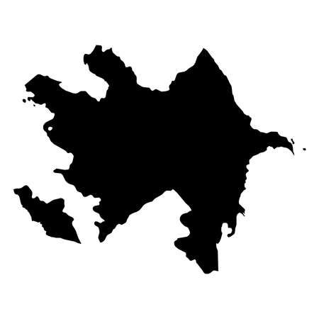 Azerbaijan Black Silhouette Map Outline Isolated on White 3D Illustration Stock Photo