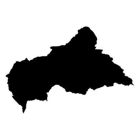 Central African Republic Black Silhouette Map Outline Isolated on White 3D Illustration Imagens