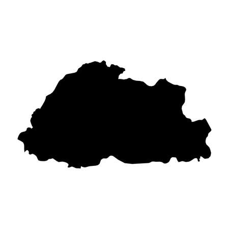 Bhutan Black Silhouette Map Outline Isolated on White 3D Illustration