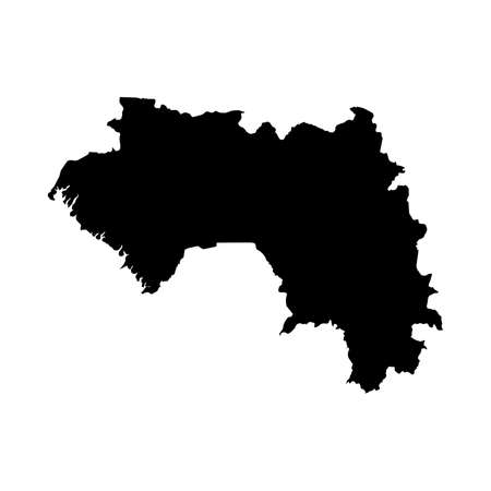 Guinea Black Silhouette Map Outline Isolated on White 3D Illustration