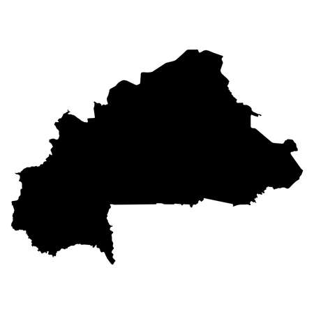 Burkina Faso Black Silhouette Map Outline Isolated on White 3D Illustration