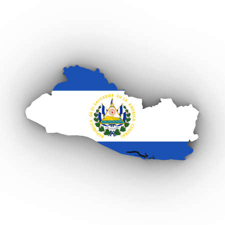 El Salvador Map Outline with Salvadoran Flag on White with Shadows 3D Illustration Imagens