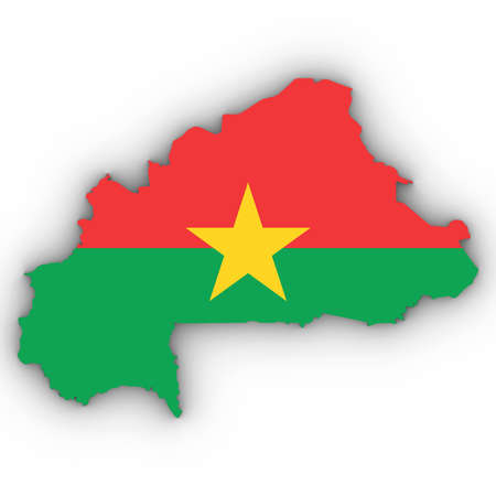 Burkina Faso Map Outline with Burkinabe Flag on White with Shadows 3D Illustration Imagens