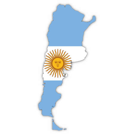 Argentina Map Outline with Argentinian Flag on White with Shadows 3D Illustration