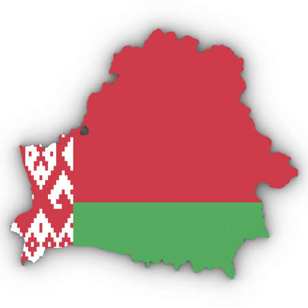 Belarus Map Outline with Belarusian Flag on White with Shadows 3D Illustration Imagens