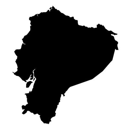 Ecuador Black Silhouette Map Outline Isolated on White 3D Illustration