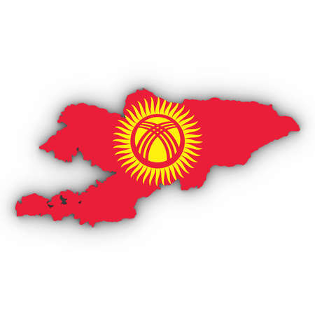 Kyrgyzstan Map Outline with Kyrgyzstani Flag on White with Shadows 3D Illustration