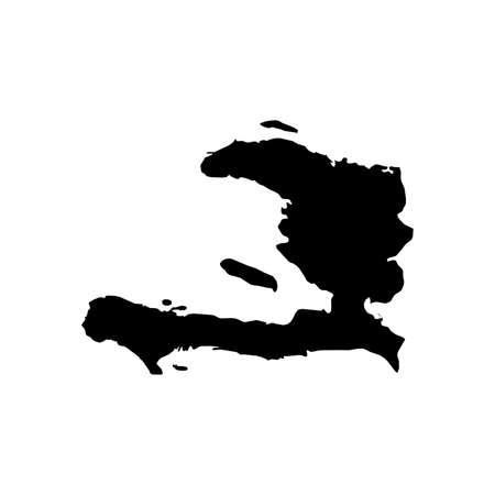 Haiti Black Silhouette Map Outline Isolated on White 3D Illustration