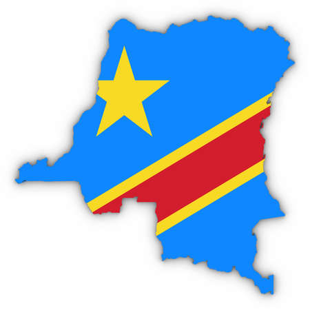 DR Congo Map Outline with Congolese Flag on White with Shadows 3D Illustration