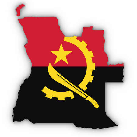 Angola Map Outline with Angolan Flag on White with Shadows 3D Illustration Imagens