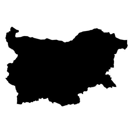 Bulgaria Black Silhouette Map Outline Isolated on White 3D Illustration